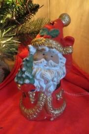 Gipsen kerstman met waxinelichtje