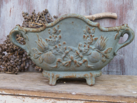 VERKOCHT Antieke Franse gietijzeren jardiniere tuinvaas (nr. 1)