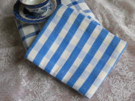 VERKOCHT Oud-hollandse blauw geruite handdoek theedoek