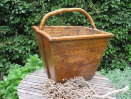 Oude Franse houten plukmand plukbak houtmand, groot en vierkant