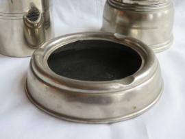 Art Deco zilverkleurige metalen asbak