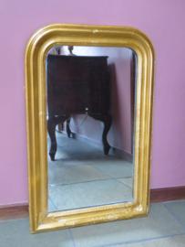 Antieke brocante Franse schouwspiegel in goud lijst, 69 x 45 cm
