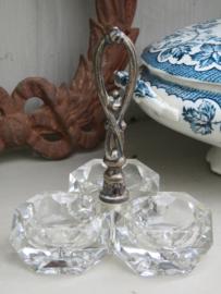 Kristallen menage set / kristallen peper-zout-mosterdstel met verzilverd handvat