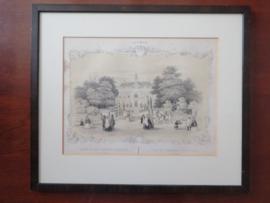 Antieke litho, Gezigt op het Kasteel Overbeek, H.W. Last ca. 1860