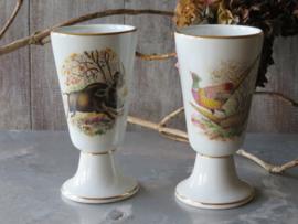 Franse koffiebekers op voet met wilddecor, Tradition (set van 2 stuks)