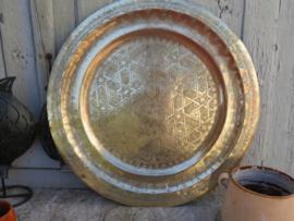 VERKOCHT Groot Marokkaans koperen dienblad, 67 cm