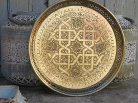 VERKOCHT Oud Marokkaans koperen dienblad, 39 cm