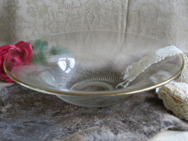 Brocante glazen fruitschaal met goudrand