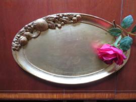 Goudkleurig ovaal houten dienblad Sezzatini