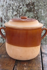 Grote half geglazuurde Franse pot met deksel, 22x24cm