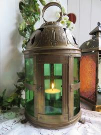 VERKOCHT Oude oosterse koperen lantaarn windlicht met groen glas