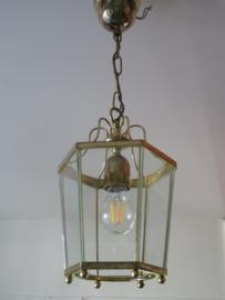 VERKOCHT Oude messing hanglamp, hal lamp