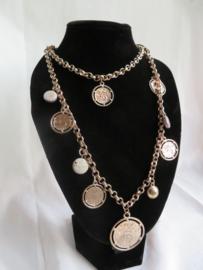Lange halsketting rosé goudkleurig met munten