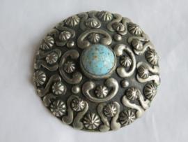 VERKOCHT Oude ronde broche sjaalspeld zilver