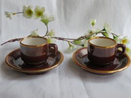 Vintage espresso kop en schotels, Delaunay France, set van 2 stuks