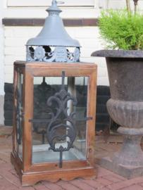 Grote oude brocante lantaarn windlicht, 80 cm hoog