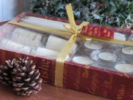 Kerst kaarsenset in cadeauverpakking (roomwit)