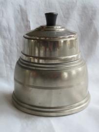 VERKOCHT Art Deco zilverkleurige metalen tabakspot