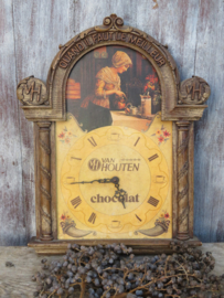 VERKOCHT Brocante Franse houten keukenklok Van Houten Chocolat