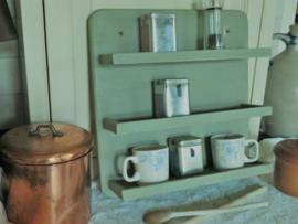VERKOCHT Brocante grijsgroen houten kruidenrek keukenrek wandrek