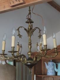 Antieke koperen kroonluchter, 6-lichts