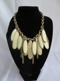 Vintage halsketting ivoor-goud