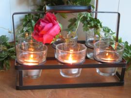 Metalen rekje met 6 glazen waxinehouders
