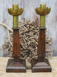 Stel Art Deco kandelaars, hout en messing