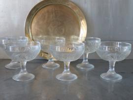 Franse glazen ijscoupes fruitcoupes op voet, set van 6 stuks