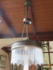 VERKOCHT Art Deco koperen hanglamp met glazen kralen, kralenlamp