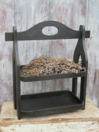 Brocante zwarte houten etagere, dubbel dienblad