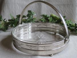 VERKOCHT Art Deco glazen schaal in zilverkleurige metalen houder