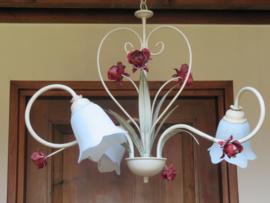 Brocante Franse hanglamp met glazen kelken, 3-lichts