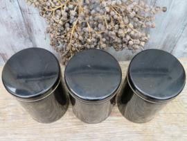Brocante zwarte blikken voorraadbussen koffie thee suiker