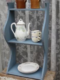 Brocante blauw houten keukenrek kruidenrek