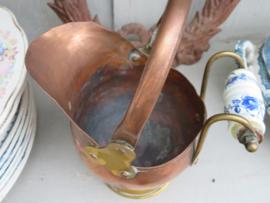 Oude koperen helmkit / koperen plantenpot, klein model