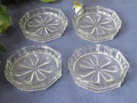 Art Deco glazen onderzetters, set van 4