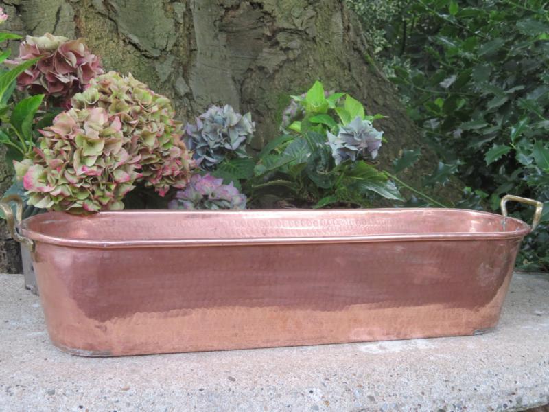 Oude Franse roodkoperen vispan / roodkoperen plantenbak