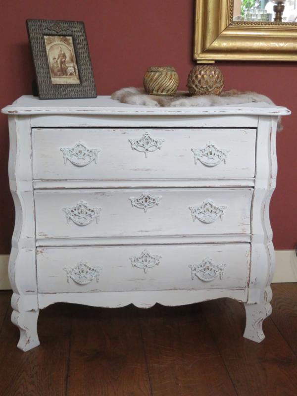 Brocante wit houten ladenkastje