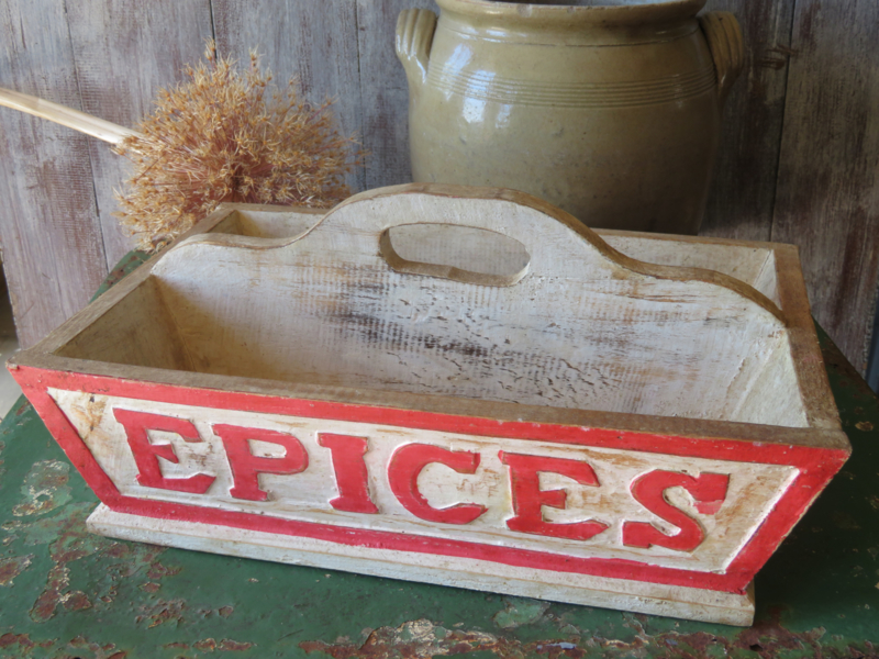 Brocante Franse houten mand / houten bak / plukmand