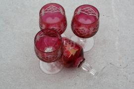 Set glaasjes gekleurd glas
