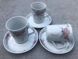 Koffiekopjes grijs-roze bloem Winterling DE
