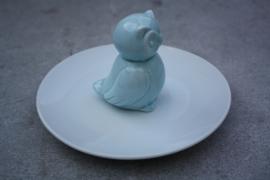 Serveerschaaltje uil blauw