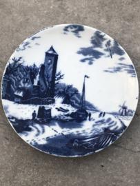 Wandbordje Delft's blauw winter-schip-toren