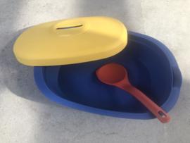 Vintage Tupperware bewaardoos geel-blauw
