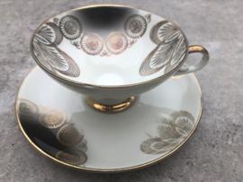 Vintage theetrio Bareuther Waldsassen zwart-goud