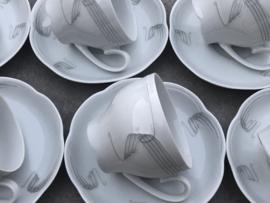 6 Koffiekopjes Schumann wit-grijs