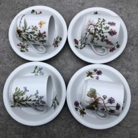 Set 4 kopjes Kronester  bloem