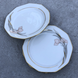 3 Petit fours bordjes Winterling bloem-goud