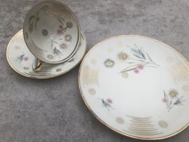 Vintage thee trio Winterling goud-pastel
